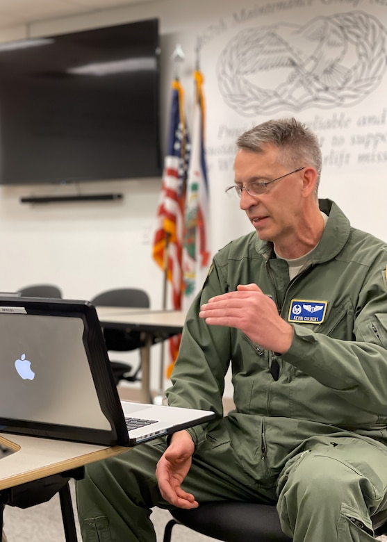 Lt. Col. (Dr.) Kevin Culbert, 167th Medical Group commander, delivers a virtual presentation about the COVID-19 vaccine, Feb. 6, 2021. Culbert has a background in microbiology, immunology, virology and public health and offered the presentation to help Airmen make informed decisions regarding the vaccination. (U.S. Air National Guard photo by Senior Airman Steven Sechler)