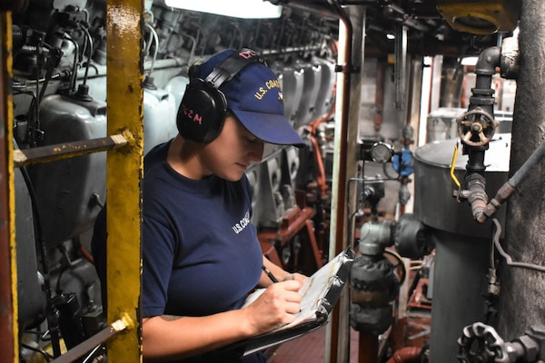 Petty Officer 2nd Class Allison Matthews, a damage controlman, aboard USCGC Resolute (WMEC 620) conducts a throttle round in the engineroom at sea on Aug. 27, 2020.