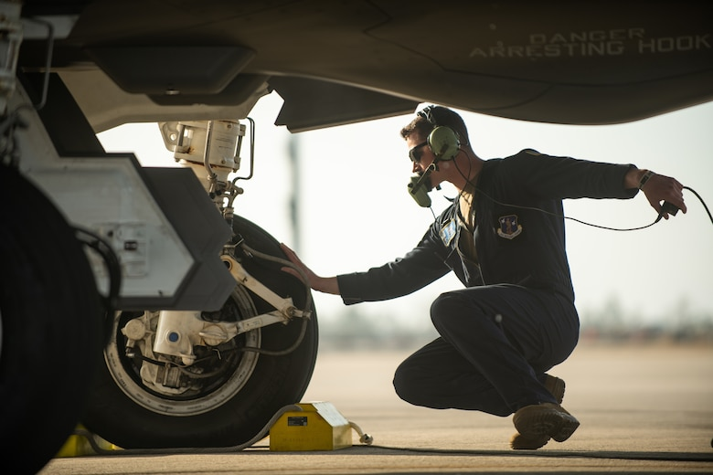 Staff Sgt. Joe Payea, a crew chief assigned to the 158th Maintenance Group, Vermont Air National Guard, prepares to launch an F-35A Lightning II during a training exercise
