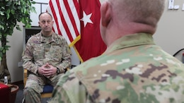 Commanding General of the 310th Sustainment Command (Expeditionary) Brig. Gen. Justin Swanson said he is convinced from his experience mobilizing the 310th ESC to Camp Arifjan, Kuwait under COVID-19 conditions was that many of the COVID-19 mitigations will continue after the pandemic has passed. Swanson first enlisted in the Louisiana National Guard and served there as a combat medic before he was commissioned in 1993.