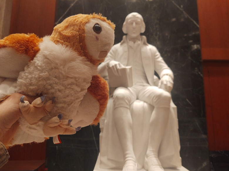 Belnap has been carrying Jupiter with him in his backpack. When the opportunity presents itself, he pulls out the stuffed animal and snaps a photo.