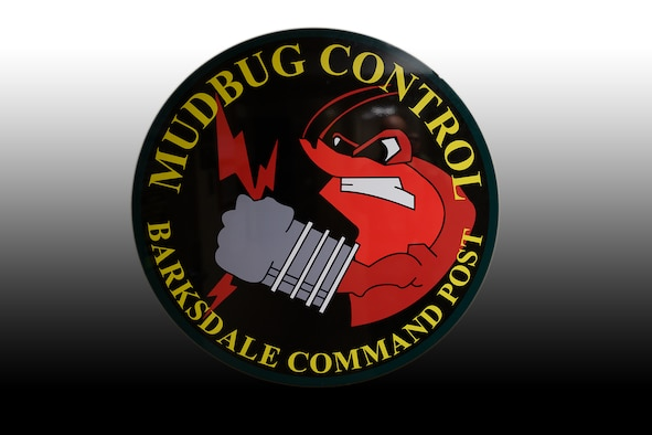 Barksdale Command Post logo showing a crawfish holding lightning in a gloved fist.