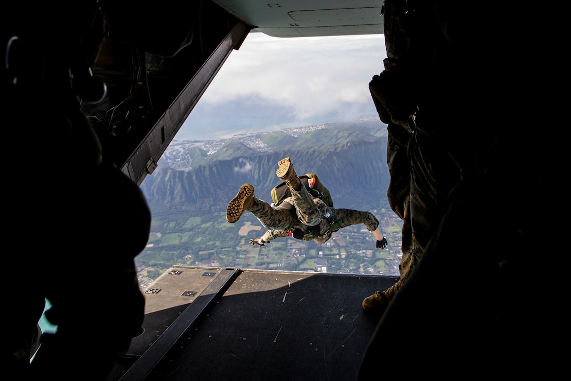 A U.S. Marine jumps during airborne operations, Marine Corps Training Area Bellows, Hawaii, Feb. 9.