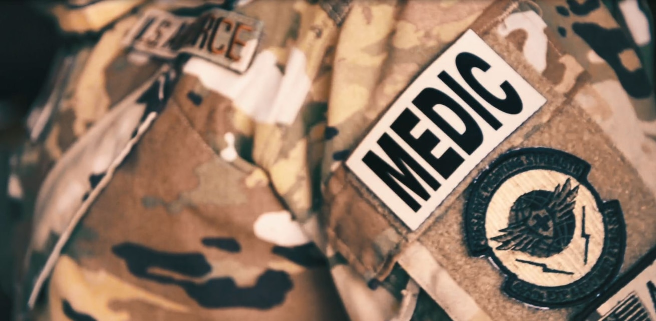 Graphic of a medic patch on an Airman.