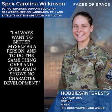 Photo of SPC4 Wilkinson with a quote and her hobbies/interests listed