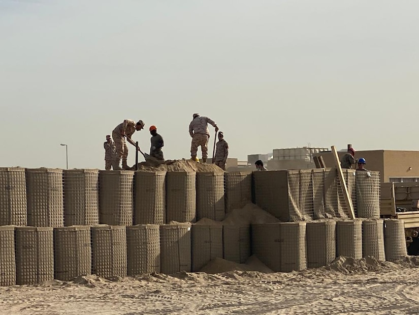 Task Force Iron Castle and 891st Engineer Battalion's 996th Engineer Construction Company begin a joint training mission with engineers of the Kuwait Land Forces at the Land Force Institute, constructing a Forward Operating Base and Command Post Exercise