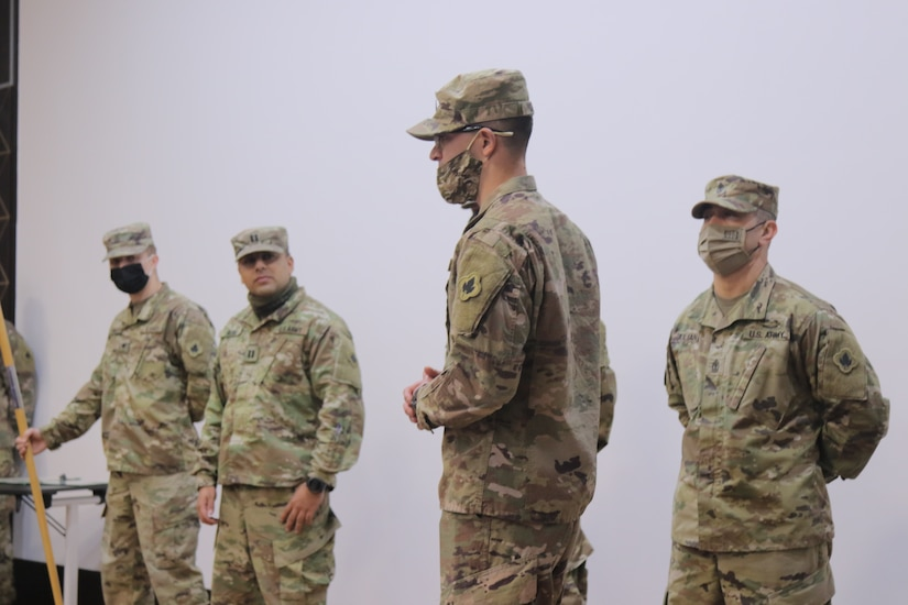 Staff Sgt. Joseph Nowak receives his promotion from Sergeant to Staff Sergeant at Joint Training Center in Jordan on January 28 2021. Staff Sgt. Nowak expresses his thanks to all those who helped him throughout his journey in the Connecticut Army National Guard.
