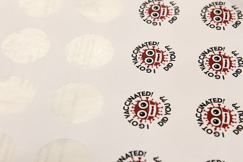 "Photo of stickers that say ""I got vaccinated, did you?"""