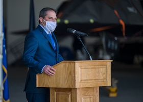 Congressman Mike Garcia offers his remarks during a Space Force Transfer Ceremony at Edwards Air Force Base, California, Feb. 11. (Air Force photo by Giancarlo Casem)