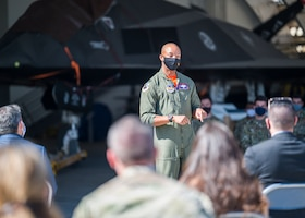 Col. Randel Gordon, 412th Test Wing Vice Commander, offers his remarks during a Space Force Transfer Ceremony at Edwards Air Force Base, California, Feb. 11. (Air Force photo by Giancarlo Casem)