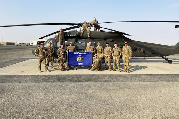 Wisconsin Army National Guard members of the West Bend-based Detachment 1, Company G, 2nd Battalion, 104th Aviation Regiment at a base in the Operation Spartan Shield area of operations. Wisconsin troops have been assigned to locations in Kuwait, Saudi Arabia and Syria for a medevac mission in the U.S. Central Command theater of operations.
