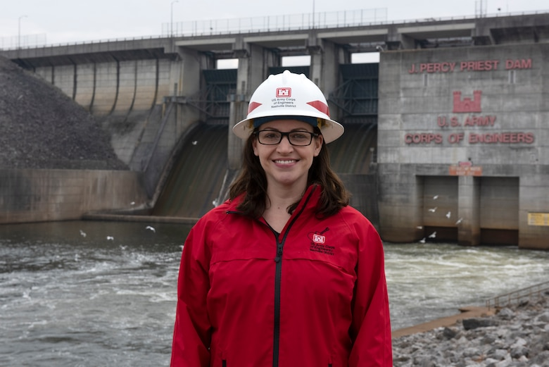 Sarah Wiles, senior geologist in the Civil Design Branch's Geology Section, is the U.S. Army Corps of Engineers Nashville District Employee of the Month for December 2020. She is seen here at J. Percy Priest Dam in Nashville, Tennessee, Feb. 10, 2021. (USACE photo by Lee Roberts)