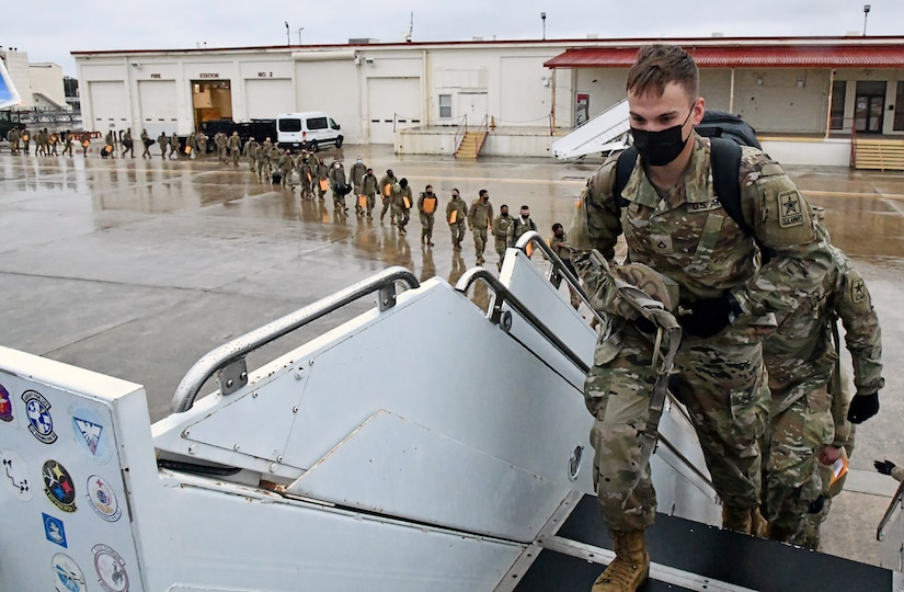 U.S. Army Medical Center of Excellence Advanced Individual Training Soldiers board a contract airplane at Joint Base San Antonio-Kelly Field Annex that will take them to their first duty assignment.