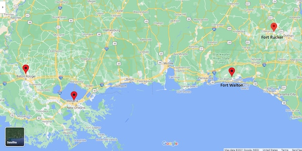 map of the US from louisiana to the florida panhandle