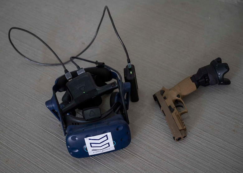 A virtual reality (VR) system lays on the ground at Al Dhafra Air Base (ADAB), United Arab Emirates, Jan. 20, 2020.