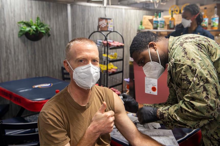 Sailors receive the COVID-19 vaccine aboard USS Vella Gulf (CG 72).