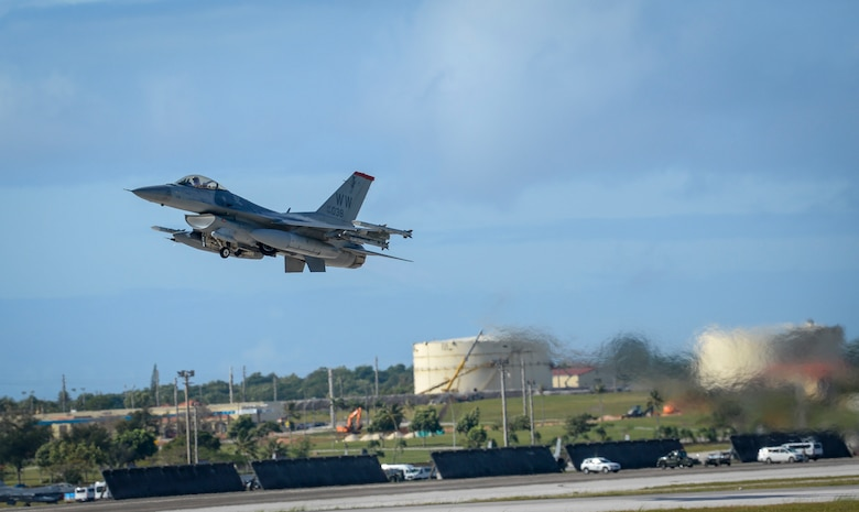 A U.S. Air Force F-16 Fighting Falcons assigned to the 13th Fighter Squadron, Misawa Air Base, Japan, takes off during exercise Cope North 2021 at Andersen Air Force Base, Guam, Feb. 11, 2021.