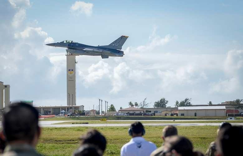 A U.S. Air Force F-16 Fighting Falcons assigned to the 13th Fighter Squadron, Misawa Air Base, Japan, takes off during a group flight line engagement for exercise Cope North 2021 at Andersen Air Force Base, Guam, Feb. 11, 2021.