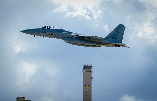 A Japan Air Self-Defense Force, or Koku-Jieitai, F-15J Eagles assigned to the 201st Squadron, Chitose Air Base, Japan, takes off during exercise Cope North 2021 at Andersen Air Force Base, Guam, Feb. 11, 2021.