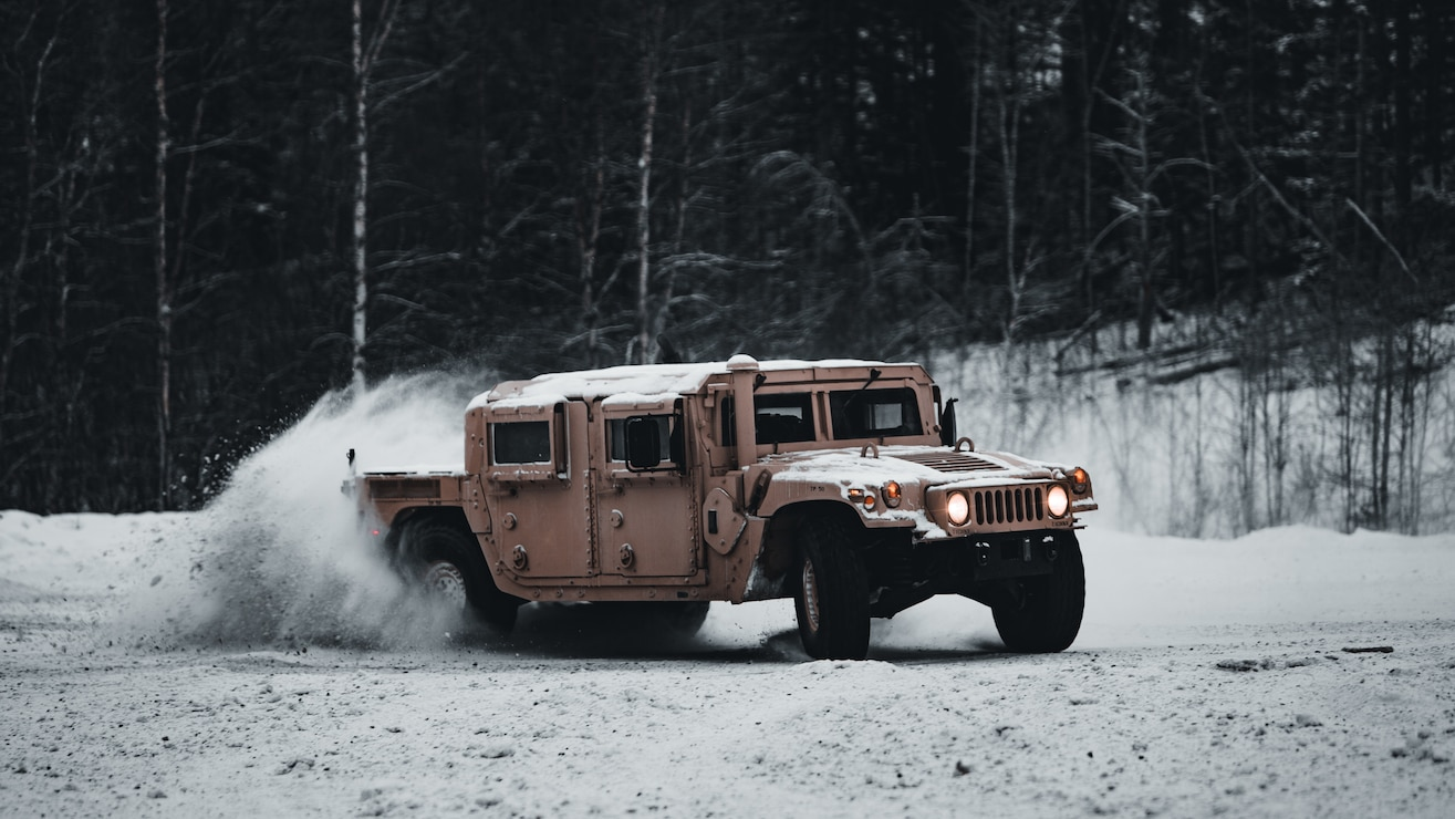 U.S. Marines participate in a tactical drivers training course on icy roads in Setermoen, Norway, Feb. 5.