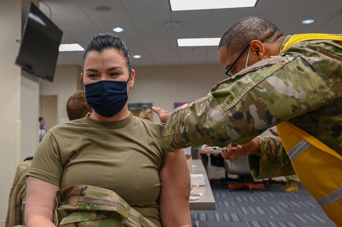 A patient receives a vaccine