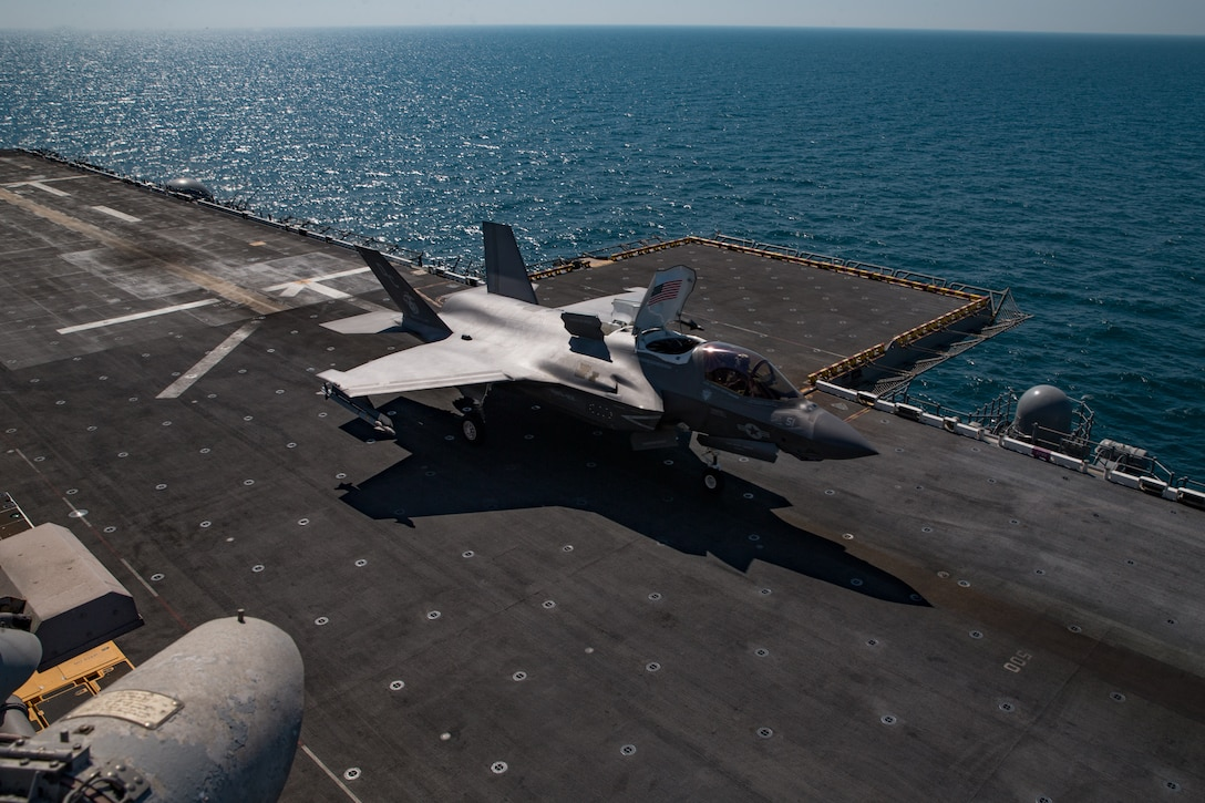 ARABIAN GULF (Feb. 13, 2021) – A U.S. Marine Corps F35B Lightning II assigned to Marine Medium Tiltrotor Squadron 164 (Reinforced), 15th Marine Expeditionary Unit (MEU), takes off from the flight deck of the amphibious assault ship USS Makin Island (LHD 8) during flight operations in support of Operation Inherent Resolve, Feb. 13. The Makin Island Amphibious Ready Group and the 15th MEU are deployed to the U.S. 5th Fleet area of operations in support of naval operations to ensure maritime stability and security in the Central Region, connecting the Mediterranean and Pacific through the western Indian Ocean and three strategic choke points. (U.S. Marine Corps photo by Sgt. Sarah Stegall)