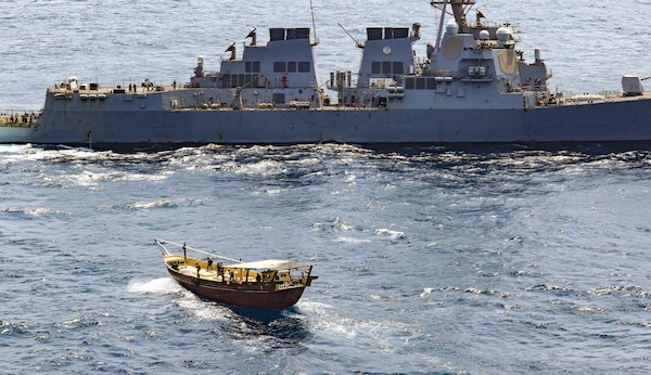 The guided-missile destroyer USS Winston S. Churchill (DDG 81), in accordance with international law, boarded a stateless dhow off the coast of Somalia and interdicted an illicit shipment of weapons and weapon components, Feb. 12.