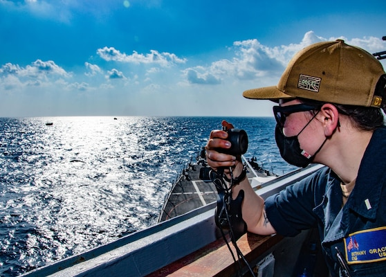 The guided-missile destroyer USS Winston S. Churchill (DDG 81), in accordance with international law, boarded a stateless dhow off of Somalia and interdicted an illicit shipment of weapons and weapon components, Feb. 12.
