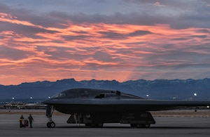 A B-2 Spirit Stealth Bomber sits on a flightline during Red Flag 21-1, Feb. 1, 2021, at Nellis Air Force Base, Nevada. During RF 21-1, the 393rd Expeditionary Bomb Squadron flew approximately 60 B-2 Spirit Stealth Bomber training missions with multiple aircraft in order to further enhance their experience for future sorties. Aircrews rotated their mission duties throughout the large-force exercise, expanding their ability to plan and execute operations best fit for various contingency scenarios. (U.S. Air Force photo by Staff Sgt. Sadie Colbert)