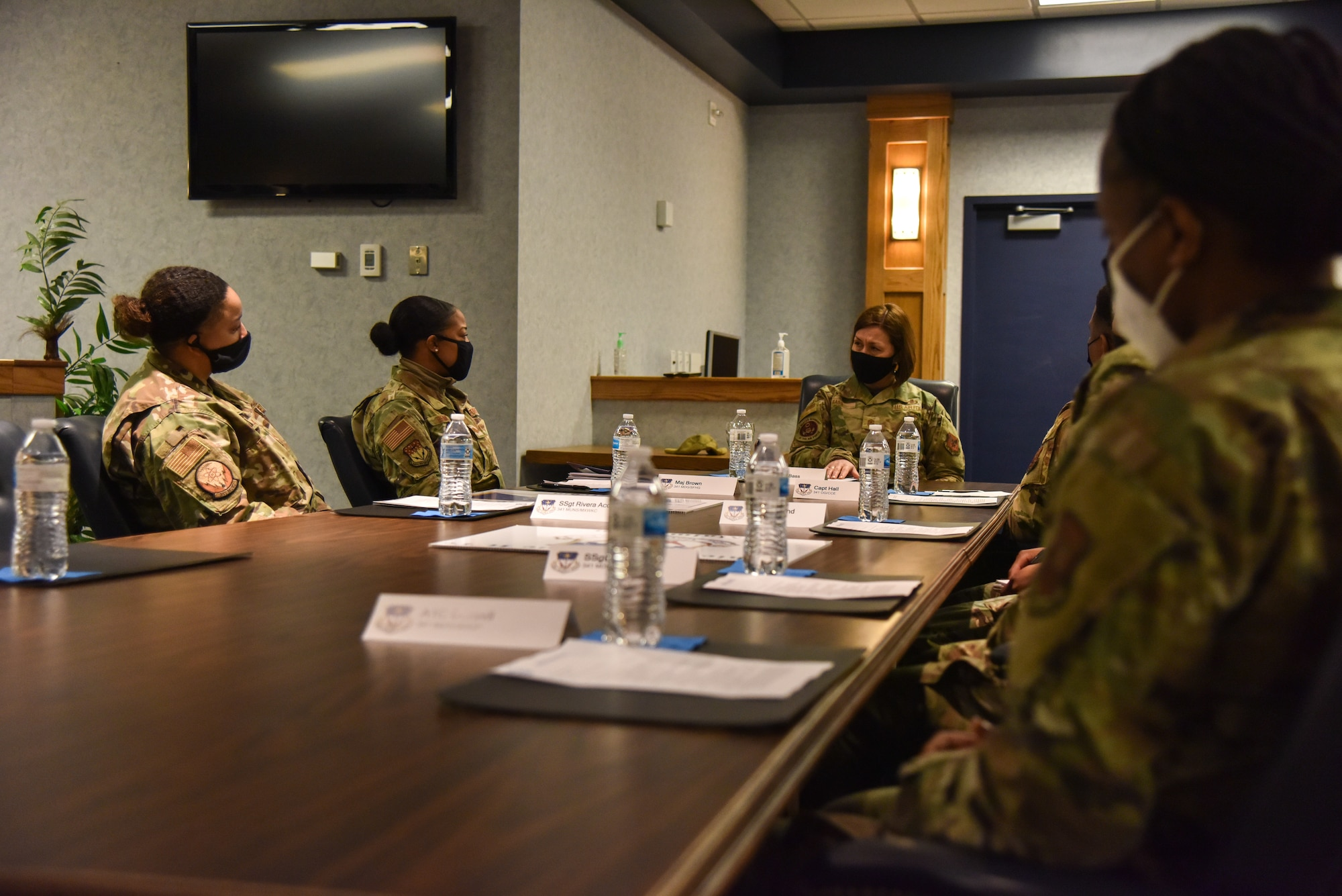 Chief Master Sgt. of the Air Force JoAnne S. Bass meets with the 341st Missile Wing's Diversity and Inclusion team Feb. 9, 2021, at Malmstrom Air Force Base, Mont. The team focuses on diversity and unconscious bias training and events that celebrate the diversity and inclusivity of the Total Force.