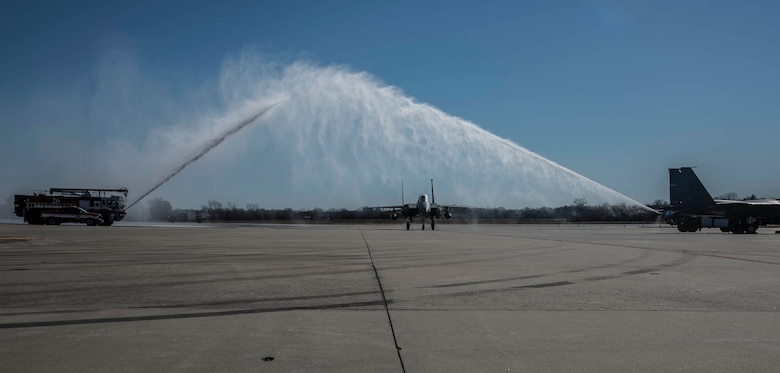Col. Meyers, 4th Operations Group commander, completes his final flight after 31 years of service in the U.S. Air Force.