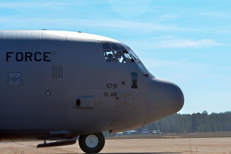 An aircraft waits to takeoff
