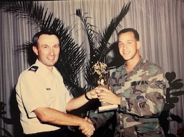 In 1990, Airman 1st Class David Merrifield was assigned to then Hickam Air Force Base. In June 2020, now Chaplain Lt. Col. David Merrifield, 647th Air Base Group Wing chaplain/Deputy Installation chaplain, returned to Joint Base Pearl Harbor Hickam, Hawaii, with a mission to assist Airmen to connect and increase their sense of belonging. (Courtesty photo)