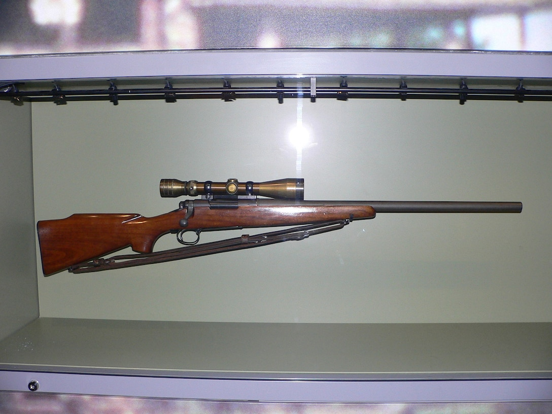 """A M40 sniper rifle with the Redfield 3x9x40 scope used by Sgt. Charles """"Chuck"""" Mawhinney, who recorded 103 confirmed kills and 216 probable kills while serving in the Vietnam War is displayed at the National Museum of the Marine Corps in Triangle, Virginia. Stone Bay will be designated with the call word """"Redfield"""" during a ceremony held by Weapons Training Battalion (WTBN) at building RR120 at Stone Bay, on Marine Corps Base Camp Lejeune, North Carolina, Feb. 19, 2020. (Courtesy photo submitted by Sgt. Charles """"Chuck"""" Mawhinney)"""