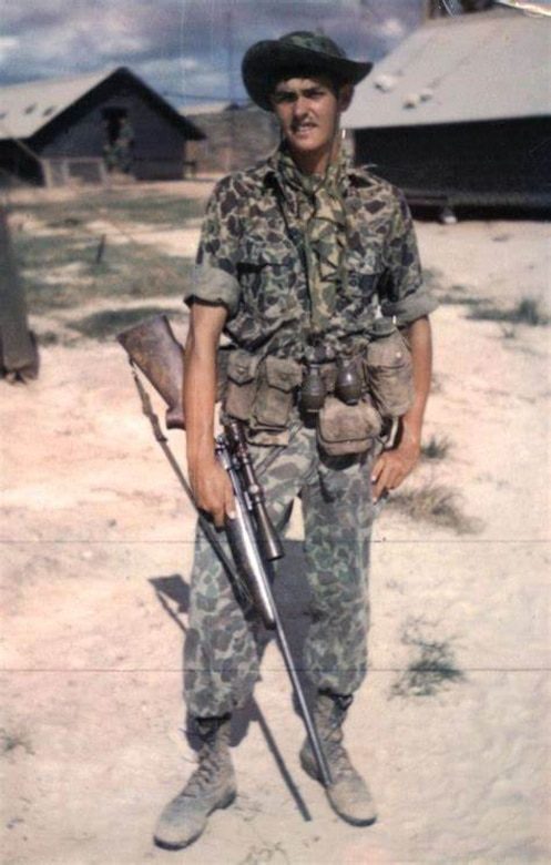 "Sgt. Charles ""Chuck"" Mawhinney, who recorded 103 confirmed kills and 216 probable kills with M40 sniper rifle and Redfield 3x9x40 scope while serving in the Vietnam War. Stone Bay will be designated with the call word ""Redfield"" during a ceremony held by Weapons Training Battalion (WTBN) at building RR120 at Stone Bay, on Marine Corps Base Camp Lejeune, North Carolina, Feb. 19, 2020. (Courtesy photo submitted by Sgt. Charles ""Chuck"" Mawhinney)"