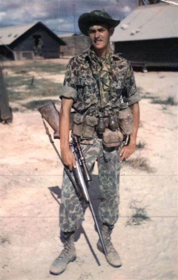 """Sgt. Charles """"Chuck"""" Mawhinney, who recorded 103 confirmed kills and 216 probable kills with M40 sniper rifle and Redfield 3x9x40 scope while serving in the Vietnam War. Stone Bay will be designated with the call word """"Redfield"""" during a ceremony held by Weapons Training Battalion (WTBN) at building RR120 at Stone Bay, on Marine Corps Base Camp Lejeune, North Carolina, Feb. 19, 2020. (Courtesy photo submitted by Sgt. Charles """"Chuck"""" Mawhinney)"""