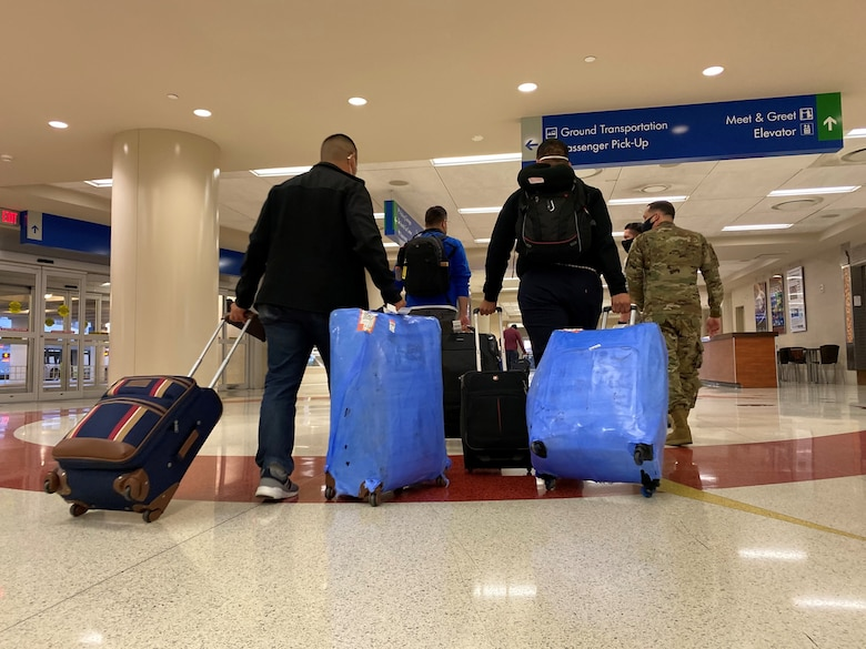 The first group of Alpha-cycle students at the Inter-American Air Forces Academy arrive at the San Antonio International Airport Jan. 13, 2021.