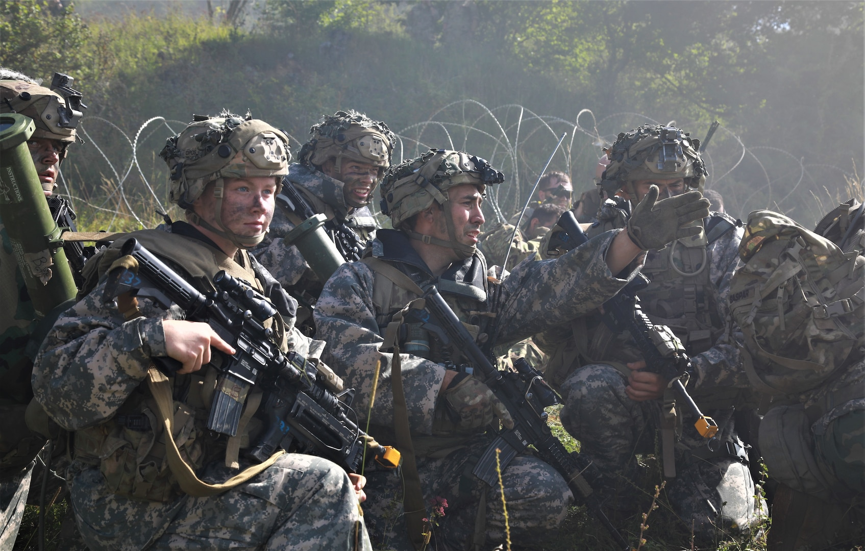 Army Paratroopers assigned to 173rd Airborne Brigade prepare to move into town, August 20, 2020, during Saber Junction 20, held at Army's Grafenwoehr and Hohenfels training areas (U.S. Army/Tomarius Roberts)