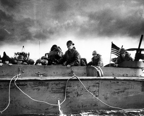 Troops and crewmen aboard Coast Guard–manned LCVP as it approaches Normandy beach on D-Day, June 6, 1944 (National Archives and Records Administration/U.S. Coast Guard Collection)