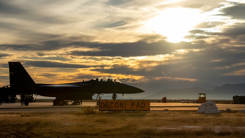 U.S. Air Force Airmen participate in exercise Raging Gunfighter at Michael Army Airfield, Utah, Feb. 1-4, 2020. This exercise furthered the multi-capabilities among Airmen and strengthened each other's bond over the span of five days. (U.S. Air Force photo by JaNae Capuno)