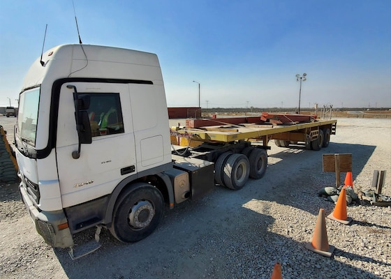 Pieces of excess building materials arrive at the DLA Disposition Services site at Bagram, Afghanistan.