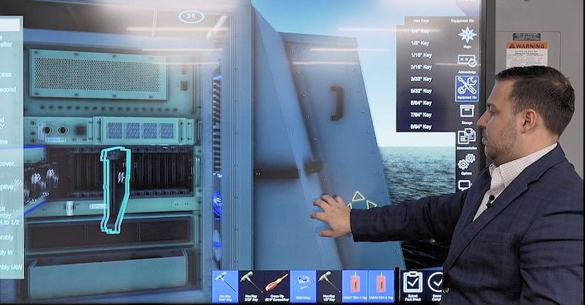 Naval Surface Warfare Center, Crane Division (NSWC Crane) Electronic Warfare (EW) experts consulted with Naval Air Warfare Center Training Systems Division to create an all-virtual maintenance training system the AN/SLQ-32 EW system.