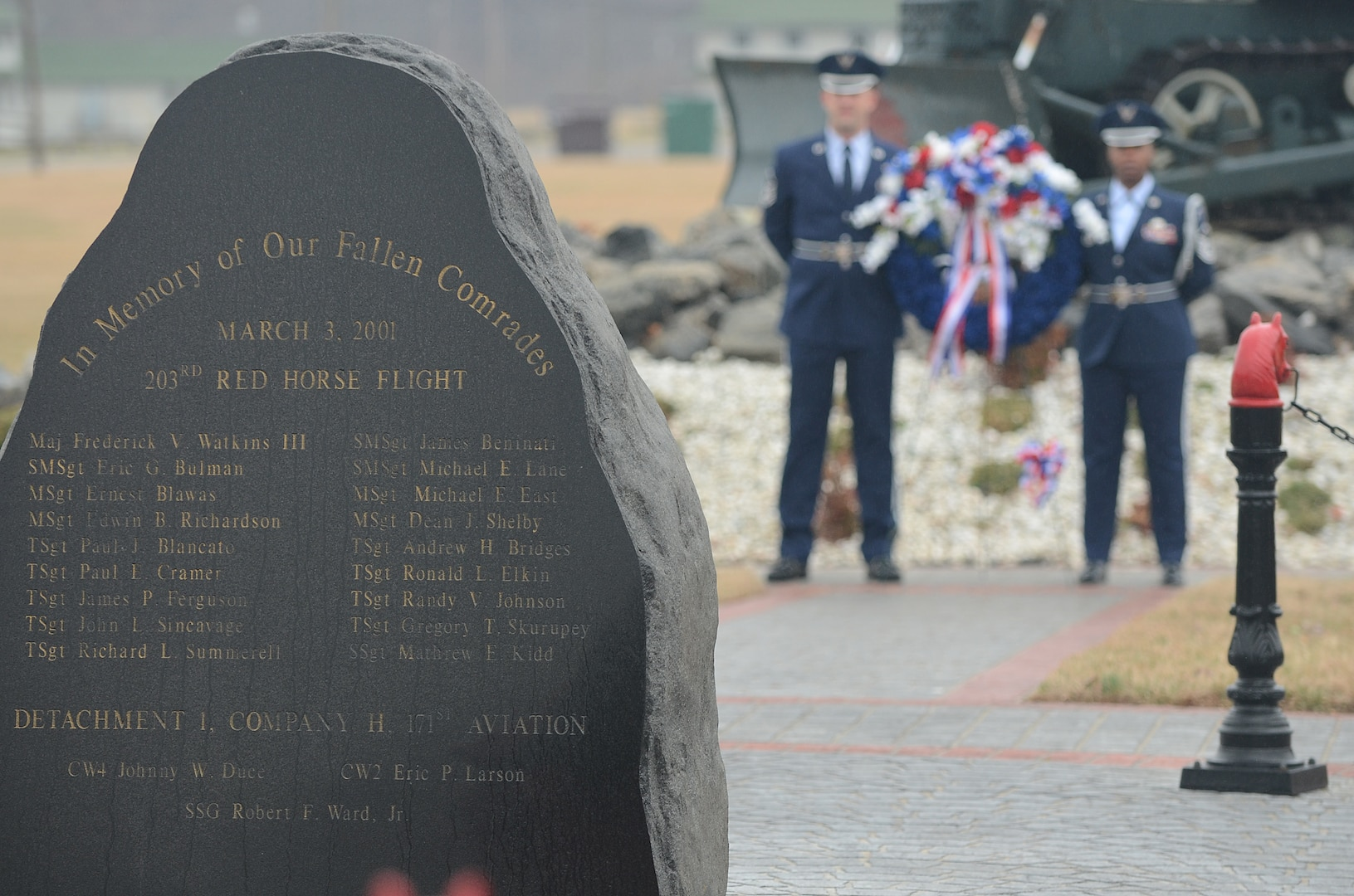 Memorial service honors 18 Airmen from 203rd RHS killed in 2001