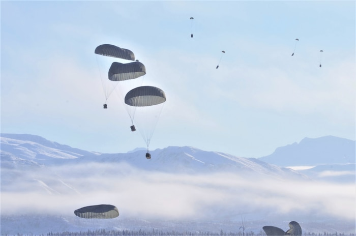 Photo of paratroopers dropping into the Donnelley Training Area, Alaska.