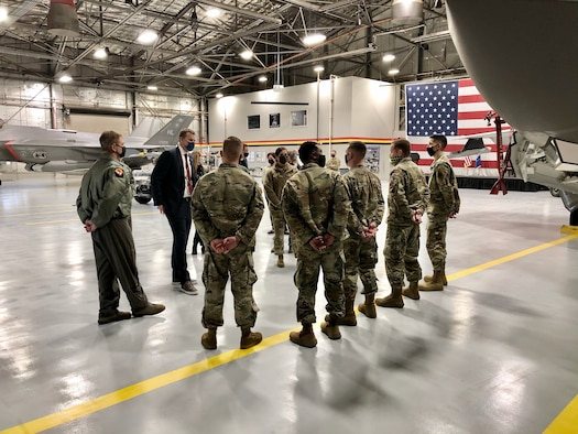 Air Force reservists from the 419th Fighter Wing and active-duty personnel from the 388th Fighter Wing give Rep. Blake Moore an overview of the F-35A Lightning II during a tour of Hill Air Force Base, Utah, Feb. 16.