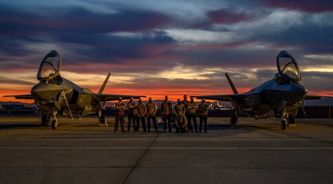 A photo of F-35 maintainers at Red Flag.