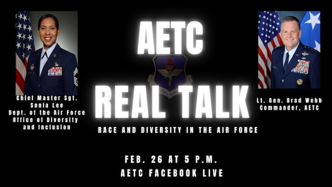 Graphic publicizing next AETC Real Talk on Feb. 26 at 5 p.m. central
