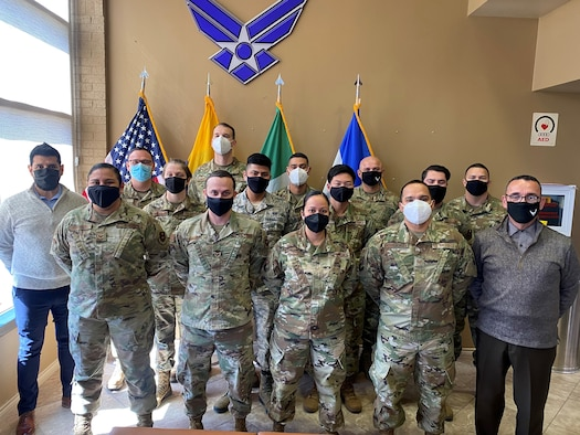 Members of the International Military Student Officer Team at the Inter-American Air Forces Academy gather for a photo at Joint Base San Antonio-Lackland, Texas.