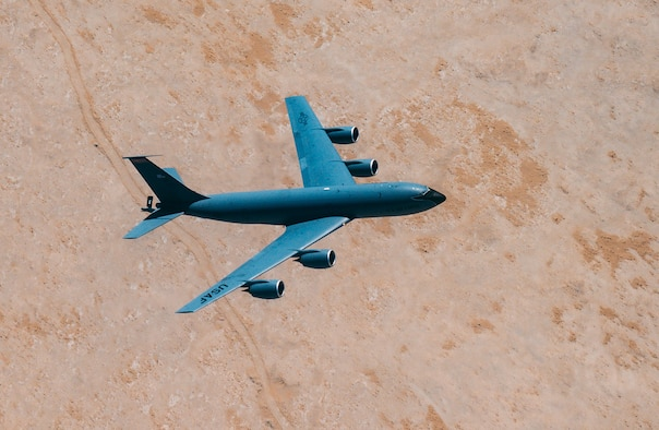 A U.S. Air Force KC-135 Stratotanker aircraft, assigned to the 350th Expeditionary Aircraft Refueling Squadron, flies over Qatar, Feb. 13, 2021.