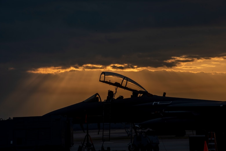 An F-15E Strike Eagle sits on the flightline at Seymour Johnson Air Force Base, North Carolina, Feb. 10, 2021.